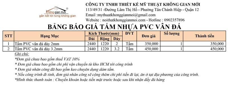 Bảng báo giá tấm nhựa pvc vân đá tại Biên Hòa