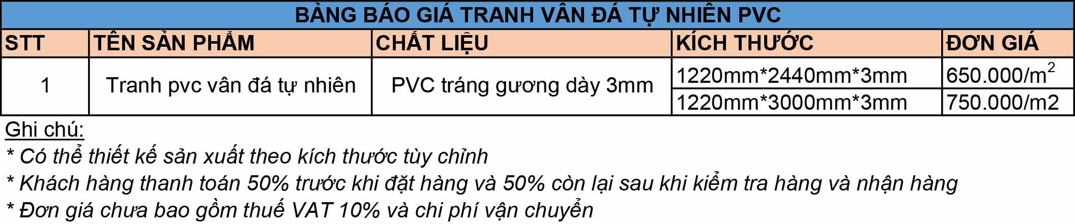 Bảng báo giá tranh vân đá tự nhiên PVC