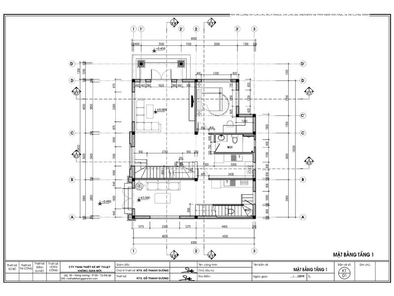 Mặt bằng thiết kế nội thất nhà tầng 1 cô Nga Đà Lạt