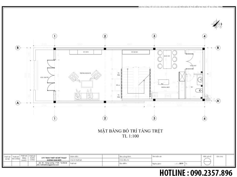mặt bằng bố trí nội thất tầng 1 nhà anh tùng đà lạt