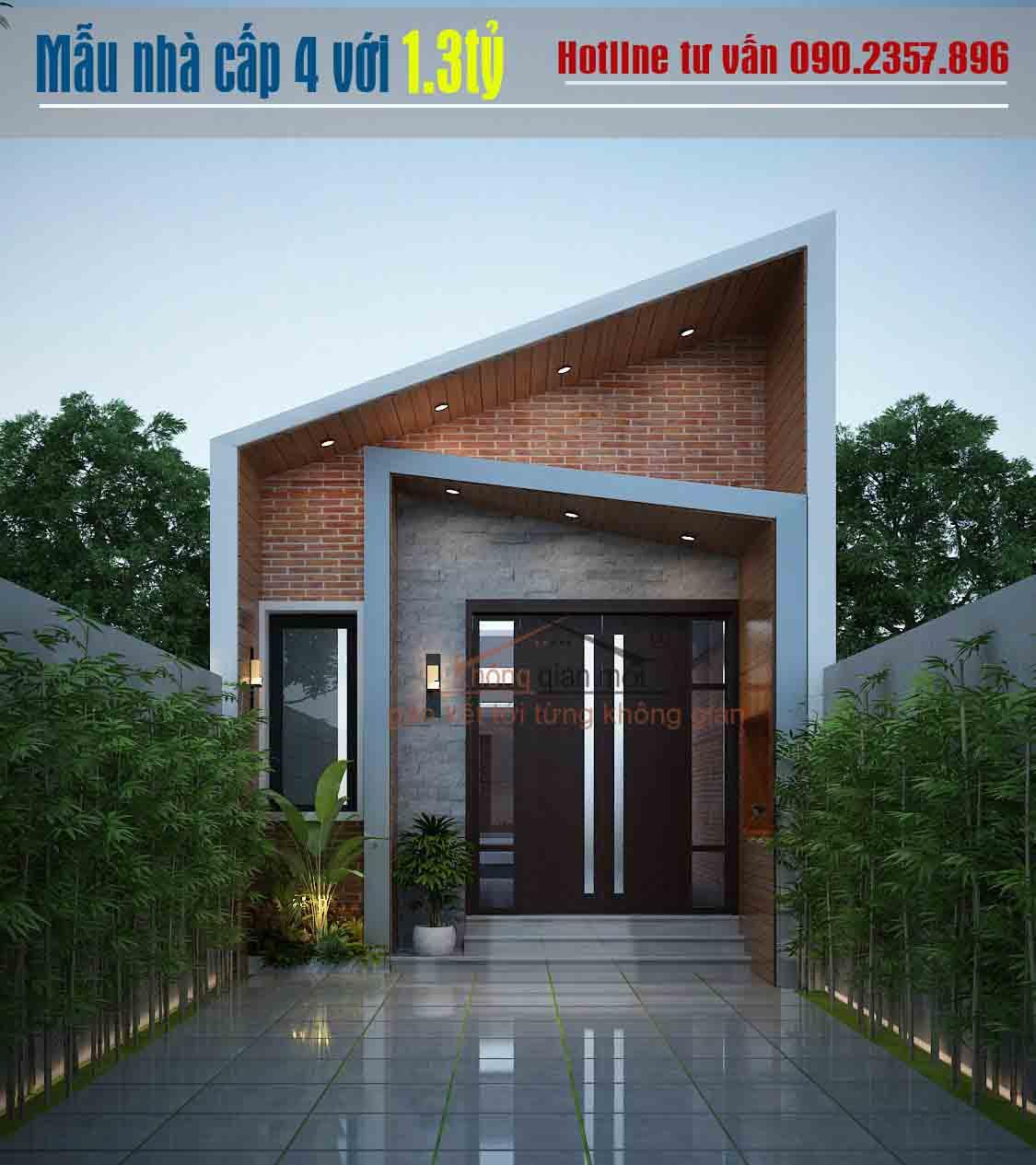 Mẫu nhà cấp 4 với chi phí xây dựng hoàn thiện 1.3 tỷ đồng tại Bình Phước