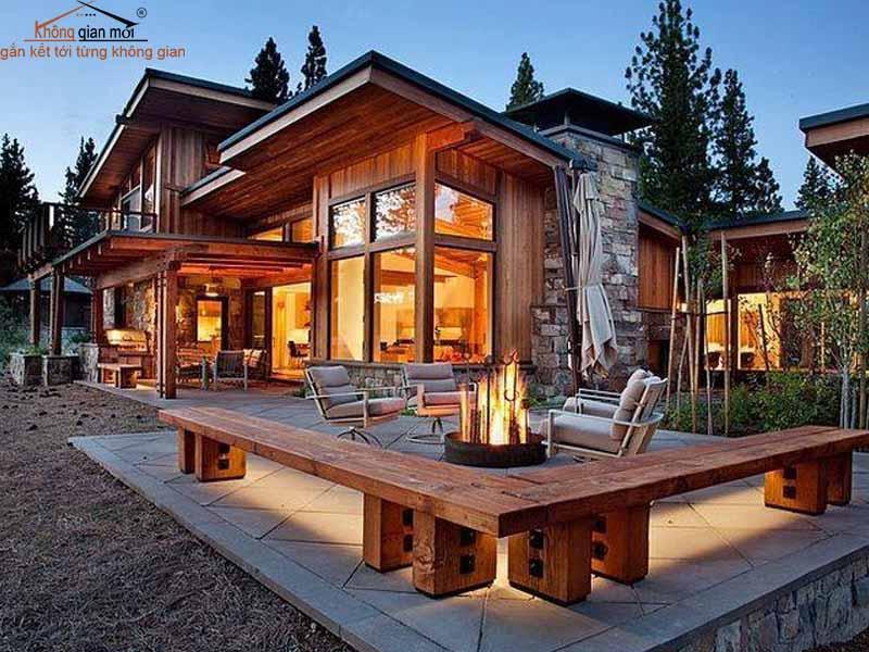 Nhà gỗ bằng gỗ thông áp dụng cho công trình nghỉ dưỡng tại Đà Lạt