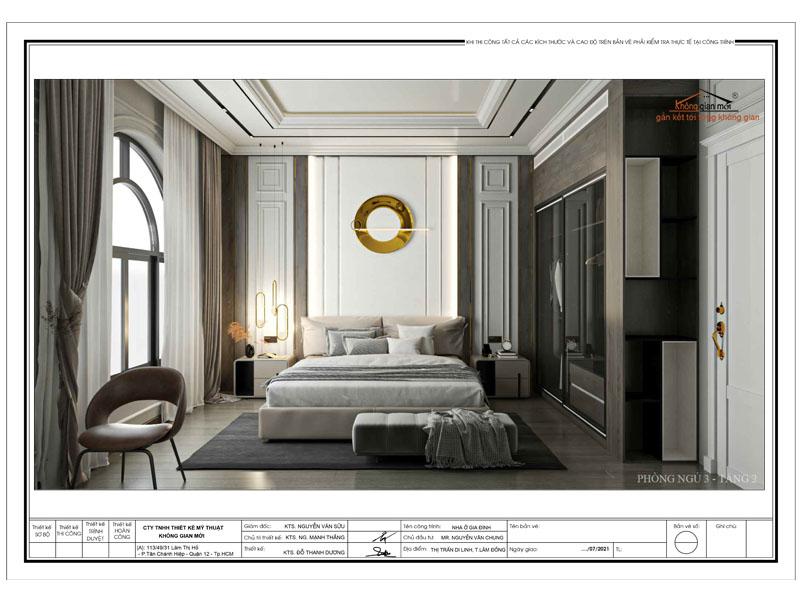 Phối cảnh nội thất phòng ngủ biệt thự tân cổ điển