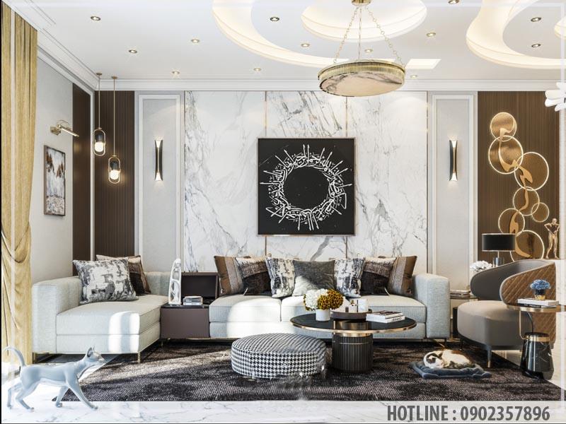 PVC vân đá trang trí phòng khách sang trọng với tông màu xám trắng