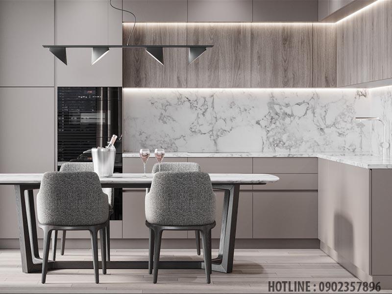 Tấm ốp pvc vân đá ứng dụng trong trang trí phòng bếp tại Bình Dương