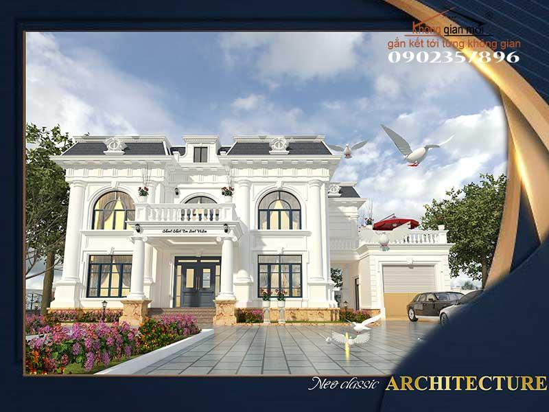 Phối cảnh thiết kế kiến trúc biệt thự Chị Cúc - Cầu Đất
