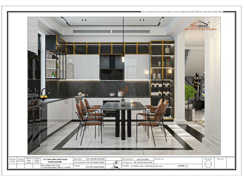 Phối cảnh thiết kế phòng bếp biệt thự hiện đại