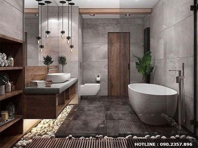 Thiết kế nội thất phòng tắm phong cách hiện đại, sang trọng