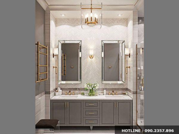 Thiết kế phòng tắm phong cách tân cổ điển với gam trung tính sang trọng