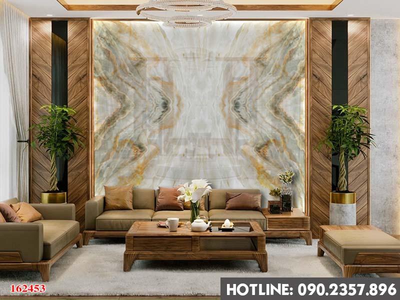 Tranh pvc vân đá tự nhiên ứng dụng trang trí vách sofa