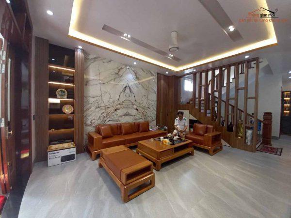 Tranh vân đá tự nhiên trang trí phòng khách
