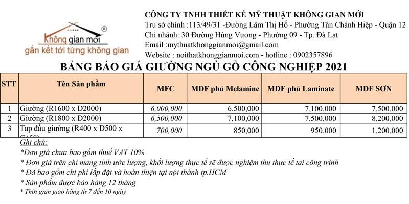 Bảng báo giá giường ngủ gỗ công nghiệp tại tphcm 2021