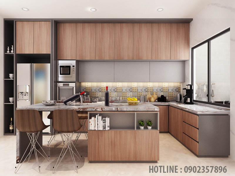 Tủ bếp chữ L màu vân gỗ đẹp-sang trọng