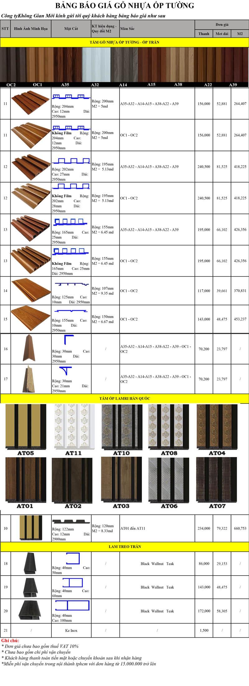 Bảng báo giá lam nhựa giả gỗ tại tphcm