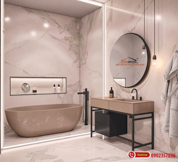 Nội thất phòng tắm đơn giản nhưng hiện đại