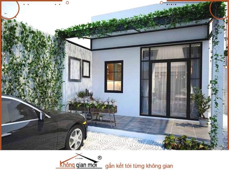 Ngôi nhà có kiến trúc không gian mở thiết kế mái nhà lạ mắt và sử dụng màu sắc trắng đen đơn giản.