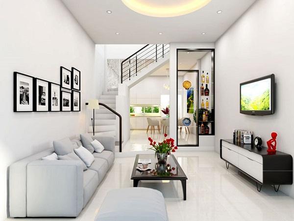 Mẫu trang trí phòng khách màu trắng nhẹ nhàng