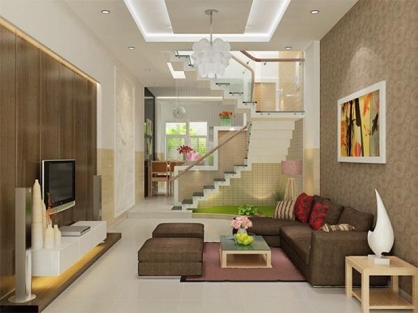 Phong cách trang trí phòng khách màu nâu gỗ thân thiện với môi trường