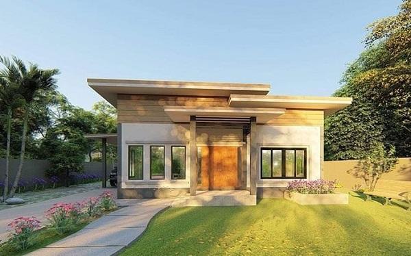 Mẫu nhà vườn cấp 4 mái bằng cổ điển sang trọng, hiện đại